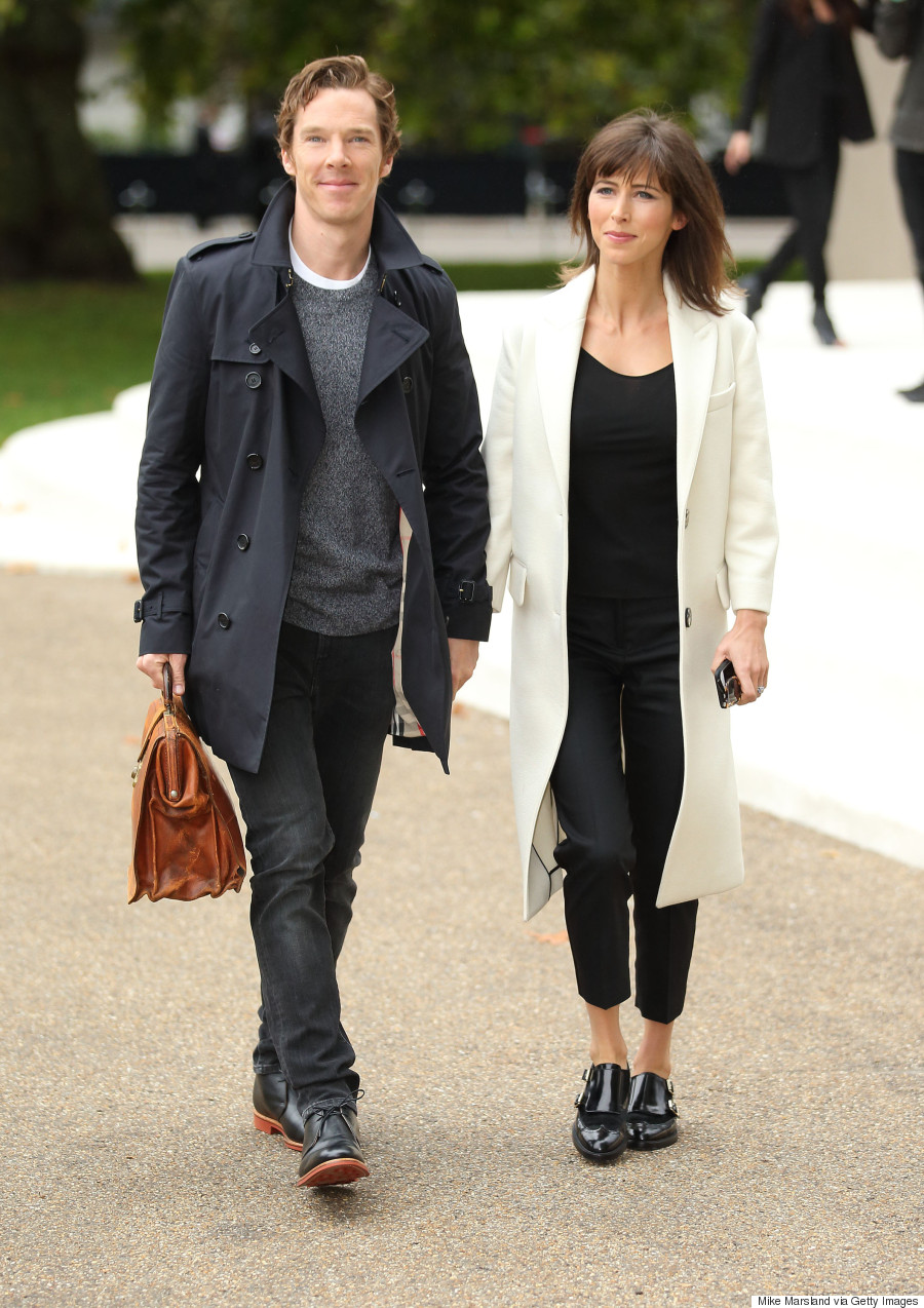 LONDON, ENGLAND - SEPTEMBER 21: Benedict Cumberbatch and Sophie Hunter attend the Burberry Prorsum show during London Fashion Week Spring/Summer 2016/17 on September 21, 2015 in London, England. (Photo by Mike Marsland/WireImage)